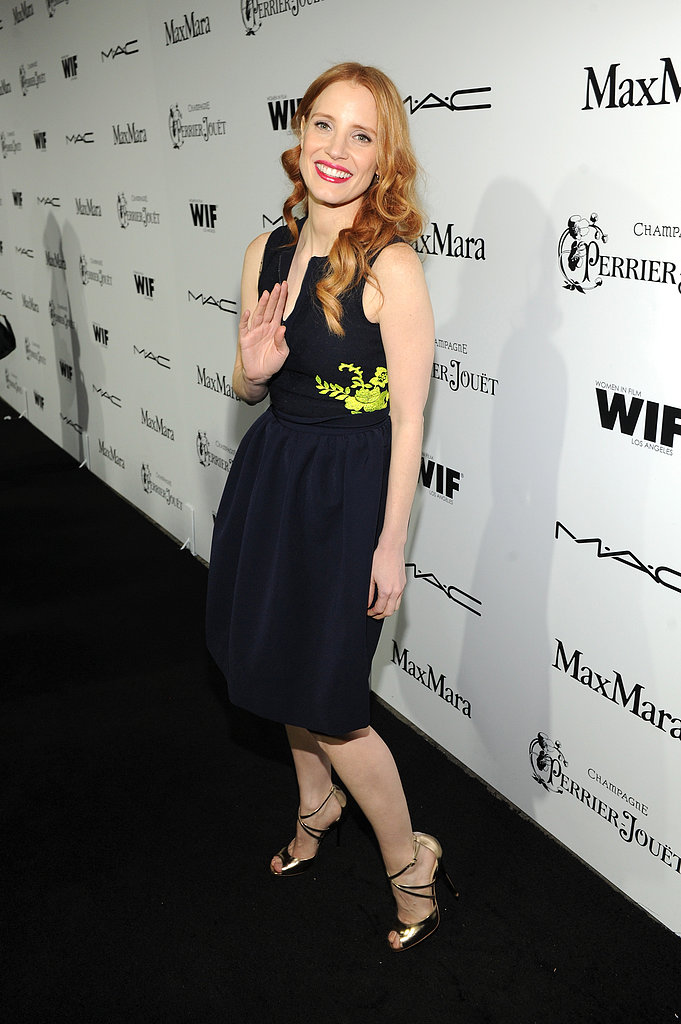 Jessica Chastain hit the black carpet at the Women in Film event in LA on Friday evening.