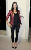 Liberty Ross wore a metallic jacket.