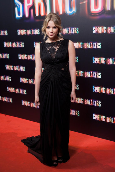 Ashley Benson wore a black gown to the premiere in Madrid.