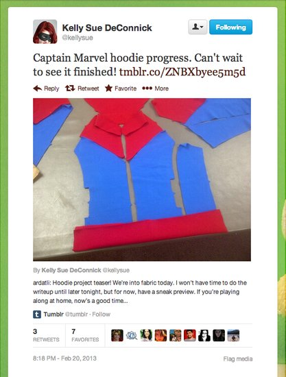 Captain Marvel comic book writer Kelly Sue DeConnick makes progress on some almost-ready-to-wear superhero garb.