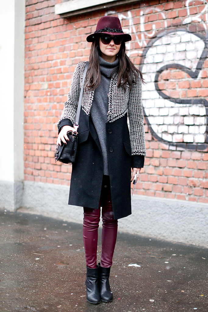 Burgundy, gray, and black told a rich Winter color story in this look.