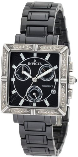 Invicta Women's 0720 Ceramic Chronograph Diamond Accented Black Ceramic Watch