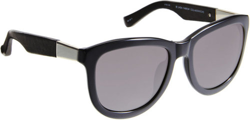 The Row Leather-Wrapped Exaggerated Cat Eye Sunglasses