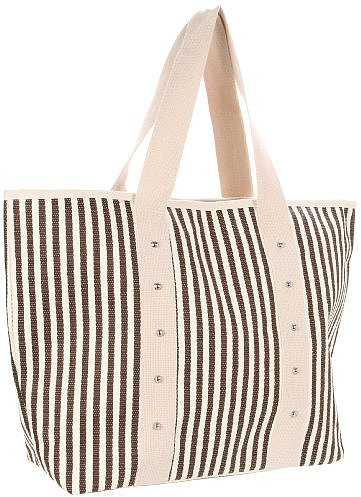 Magid Straw Stripe Stud Beach Tote