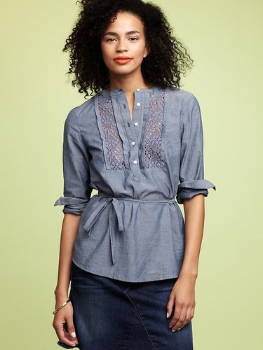 Chambray crochet-trim tunic