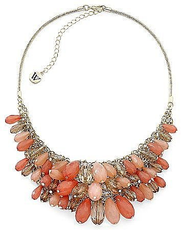 Coral & Goldtone Bib Necklace
