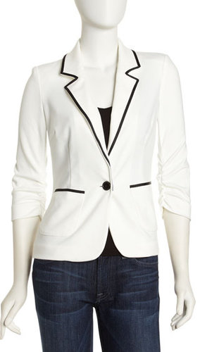 Laundry by Shelli Segal Grosgrain-Trim Ponte Jacket, Warm White