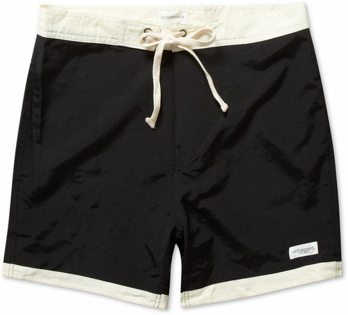 Saturdays Surf NYC Thomas Mid-Length Contrast-Band Swim Shorts