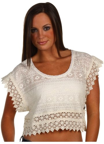Roxy - Sky of Stars Crochet Lace Crop Top