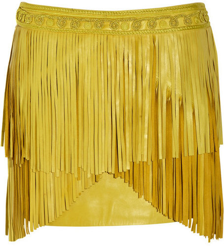 Matthew Williamson Fringed leather mini skirt