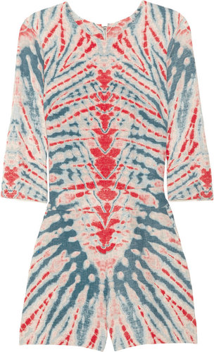 Raquel Allegra Tie-dye silk and linen-blend playsuit