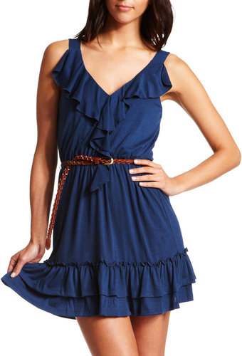 Ruffled Knit Dress with Belt