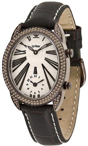 Le Vian Watch, Women's Swiss Time Duo Mini Diamond (1-3/4 ct. t.w.) Brown Satin Strap 31x36mm
