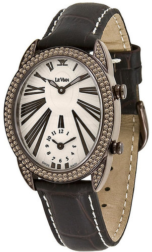 Le Vian Watch, Women's Swiss Time Duo Mini Diamond (1-3/4 ct. t.w.) Brown Satin Strap 31x36mm