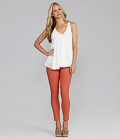 M.S.S.P. Sleeveless V-Neck Top & Colored Skinny Pants