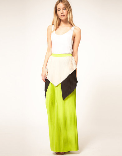 Cameo Nomad Skirt with Color Block Layered Pleats