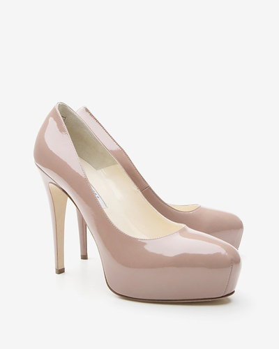 Brian Atwood Maniac Patent Leather Platform Pumps: Nude
