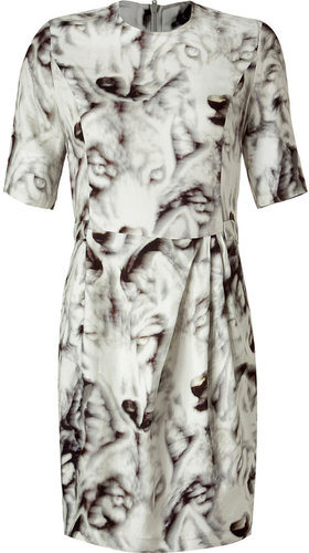 Lala Berlin Cream Wolf Print Dress