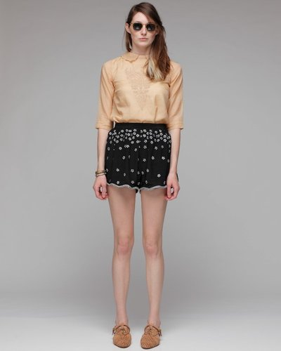 Thread Tucked Embroidered Shorts