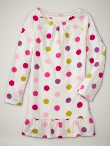 Ruffled fleece dot nightgown