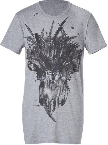 Balmain Grey S/S T-Shirt with Wolf Print