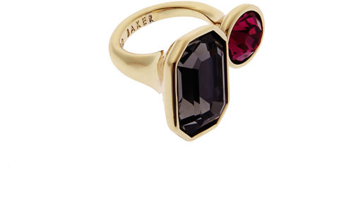 Ted Baker Black Diamond And Fuchsia Double Jewel Ring