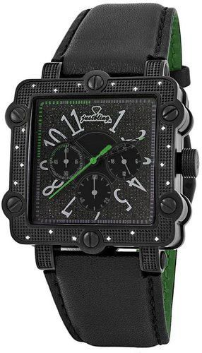 "Just Bling Men's JB-6223-G ""Mason"" Square Chronograph Diamonds Leather Watch"