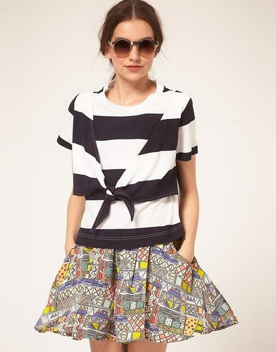 b Store Bold Stripe Cotton T-Shirt With Tie Front Detail