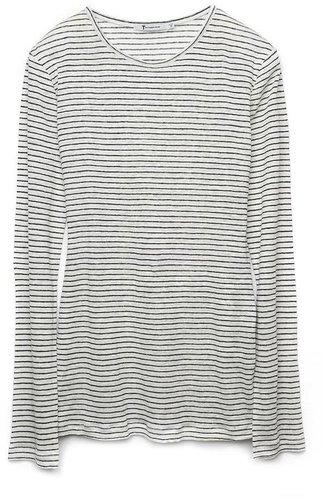 T by Alexander Wang Linen Stripe Long Sleeve Tee