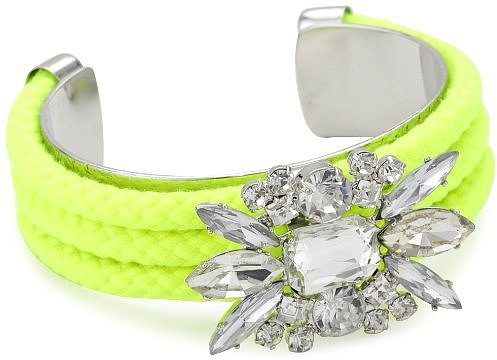 nOir &quot;Jaipur&quot; Neon Yellow-Color and Silver Crystal Cord Cuff Bracelet