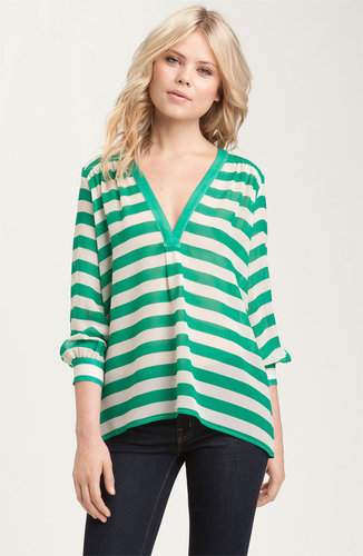 Joie 'Aceline' Sheer Stripe Silk V-Neck Top
