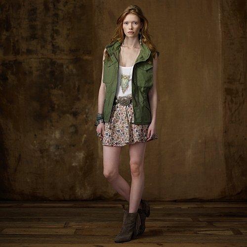 Denim & Supply Cotton Pleated Floral Skirt