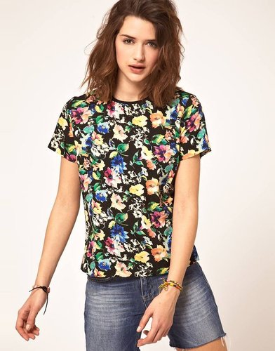 ASOS Woven  T-Shirt With Bright Floral Print