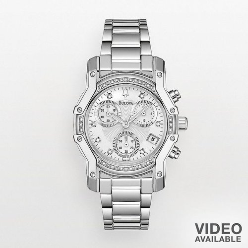 Bulova stainless steel diamond accent chronograph watch