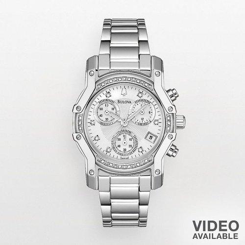 Bulova stainless steel diamond accent chronograph watch