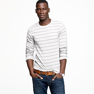 Twisted rib long-sleeve layering tee in stripe