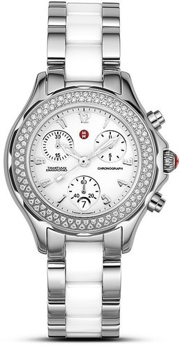 "Michele  & #034;Tahitian"" Stainless Steel Ceramic Watch with Diamond Accents, 35 mm"