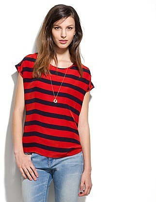 Silk picket-stripe tee