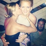 Lara Bingle puckered up with close friend Hermione Underwood. Source: Instagram user hermioneolivia
