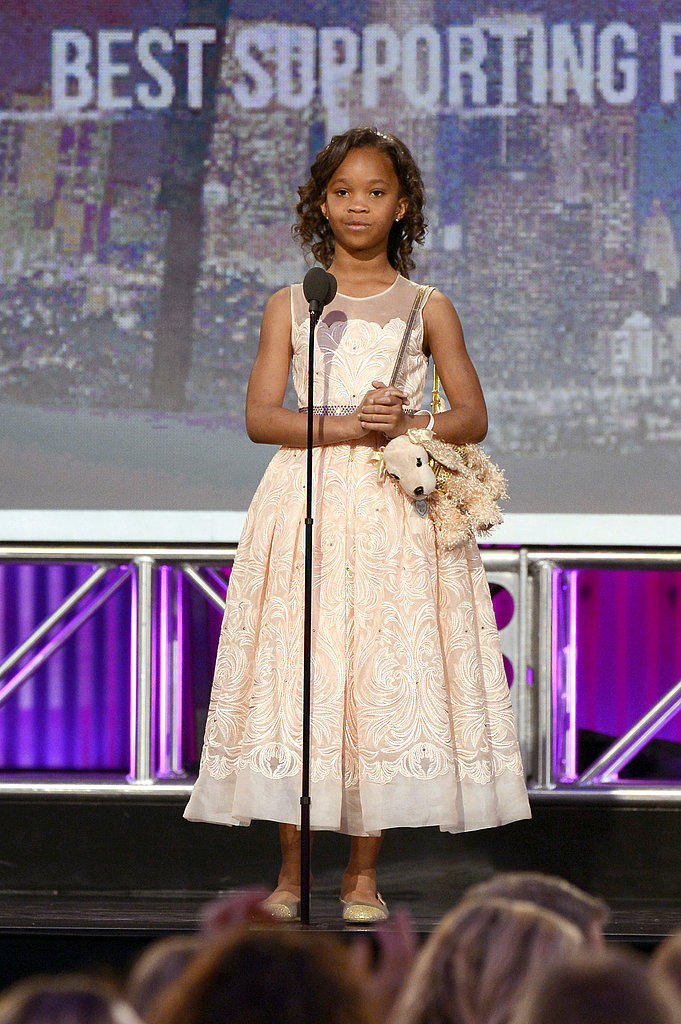 Quvenzhané Wallis spoke on stage at the 2013 Spirit Awards.