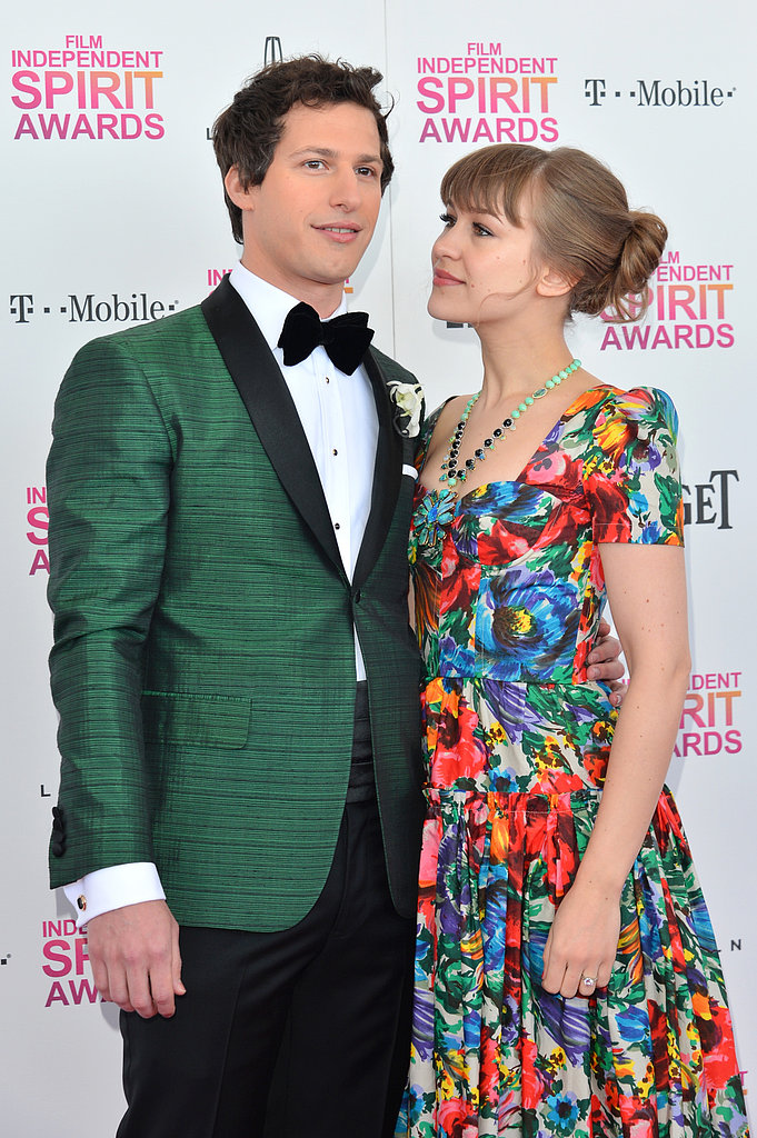Andy Samberg and Joanna Newsom on the red carpet at the Spirit Awards 2013.