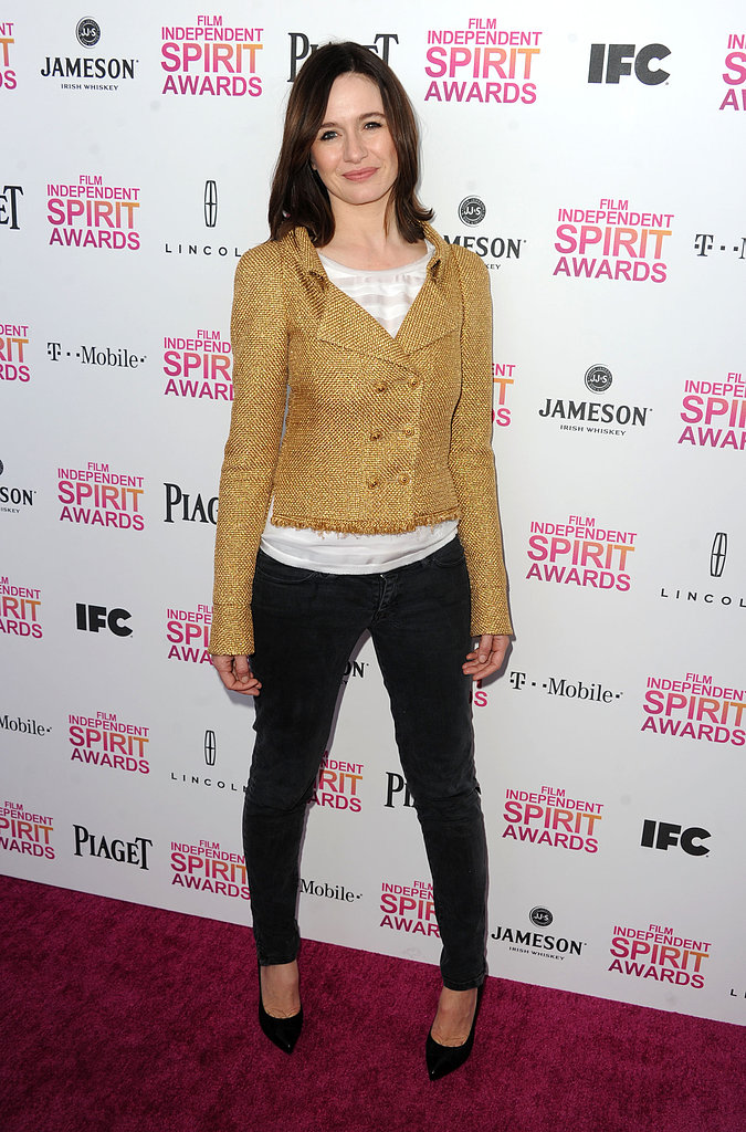 Emily Mortimer kept it low-key in black trousers, a white top, and gold double-breasted blazer.