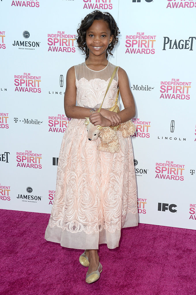 Quvenzhané Wallis chose a sweet pale pink, sheer-necklined Stella McCartney dress to go with yet another one of her adorable stuffed-animal dog purses.