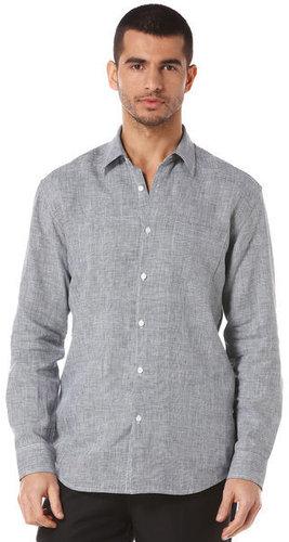 Long Sleeve 100% Linen 1 Pocket Gingham Shirt