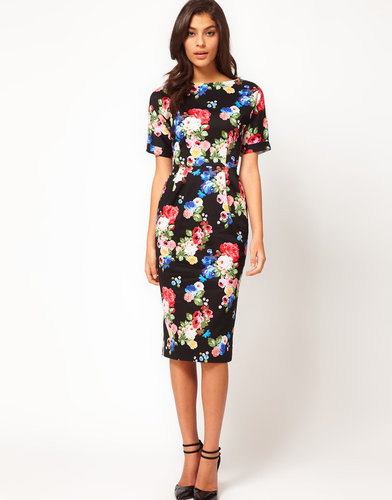 ASOS Pencil Dress In Wiggle Shape In Floral Print