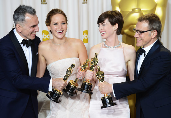 Daniel Day-Lewis, Jennifer Lawrence, Anne Hathaway, and Christoph Waltz celebrated their wins at the Oscars 2013.