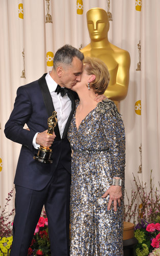 Daniel Day-Lewis kissed Meryl Streep on the cheek in the press room.