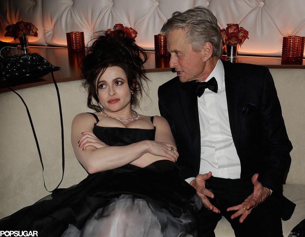 Helena Bonham Carter and Michael Douglas chatted at Vanity Fair's Oscar after-party.