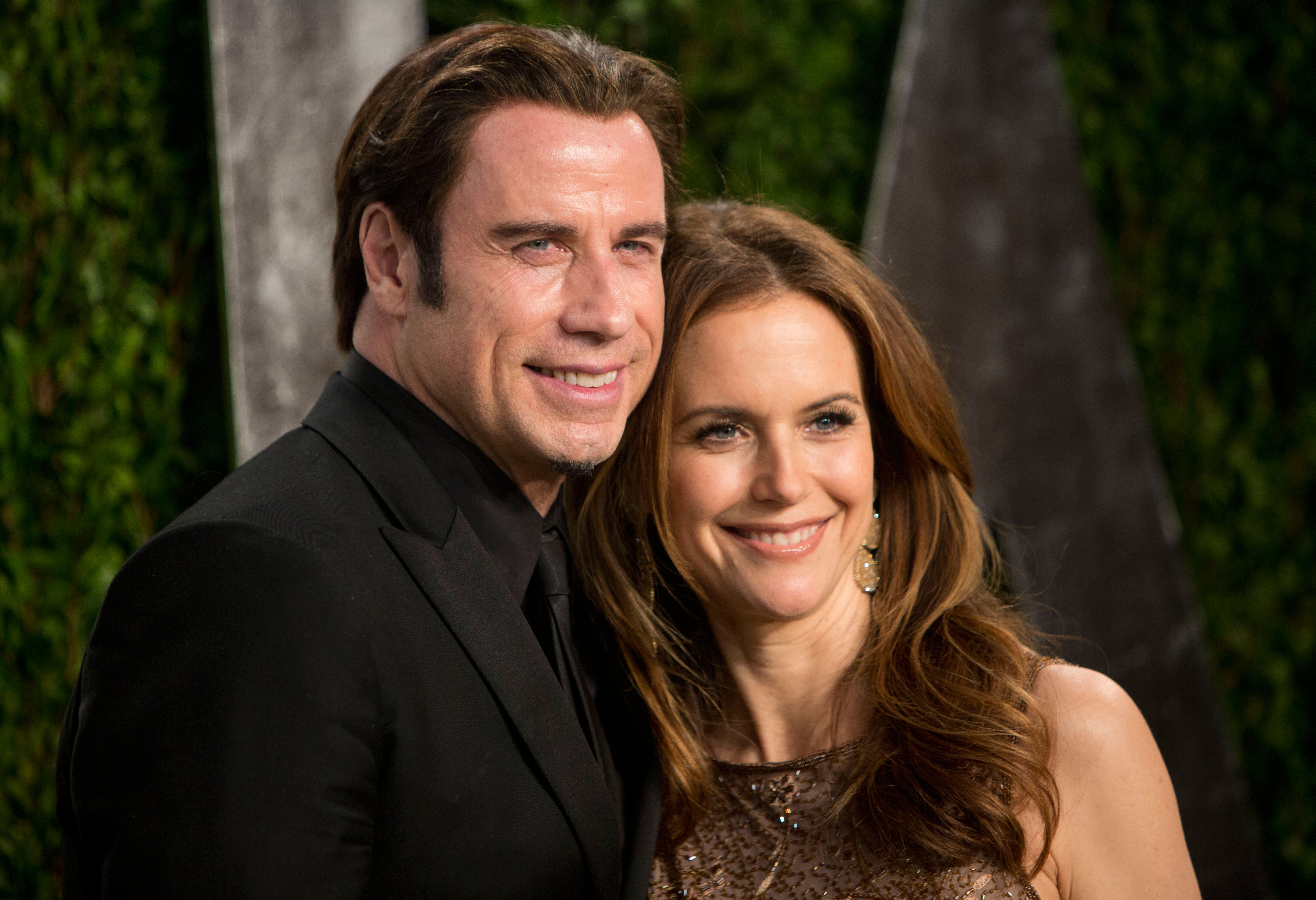 John Travolta smiled with Kelly Preston. | Vanity Fair's ...
