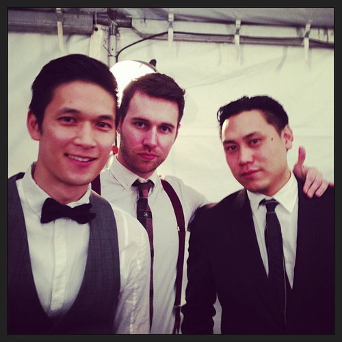 Harry Shum Jr. took a break with friends during an Oscars party. Source: Instagram user harryshum